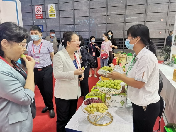 省妇联党组书记、主席刘苹在淮南女性企业展台前详细询问产品情况_爱奇艺